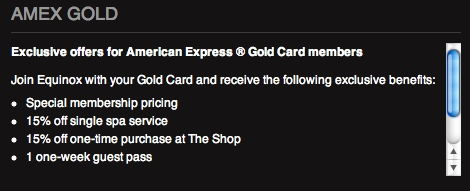 amex gold equinox benefits