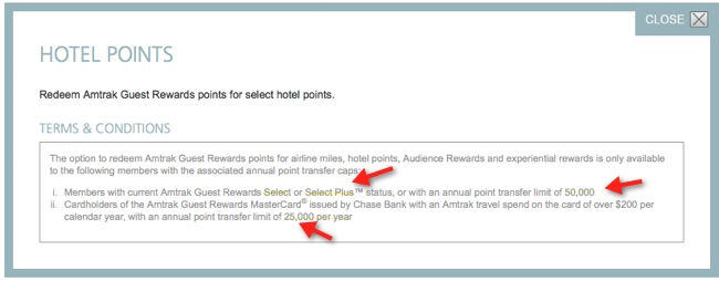 amtrak hilton hhonors transfer terms and conditions