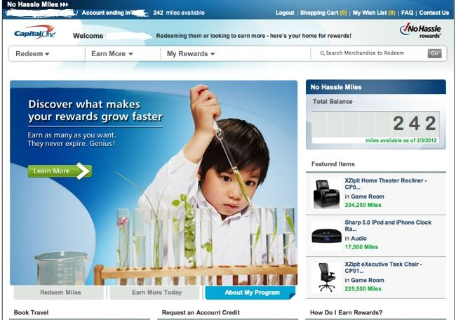capital one rewards page