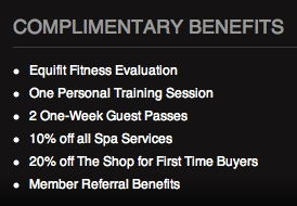 equinox complimentary benefits