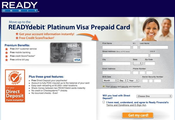ready debit application page