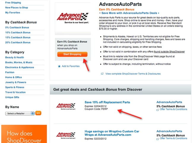 shopdiscover advanced autoparts example