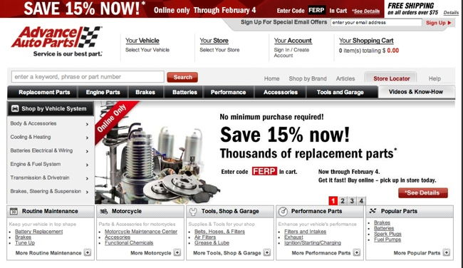 shopdiscover advanced autopart site