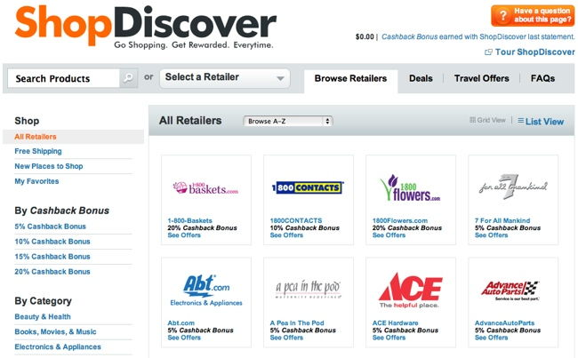 list of shopdiscover retailers