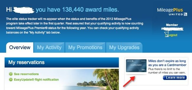 united account with miles but no online 60,000 targeted offer