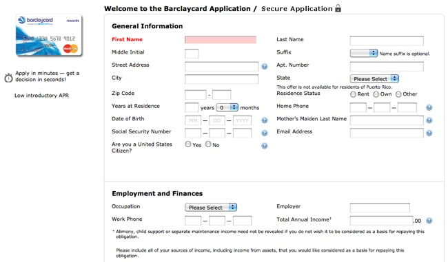 barclays reward card application page 1