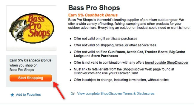 bass pro shop shopdiscover 5% rebates