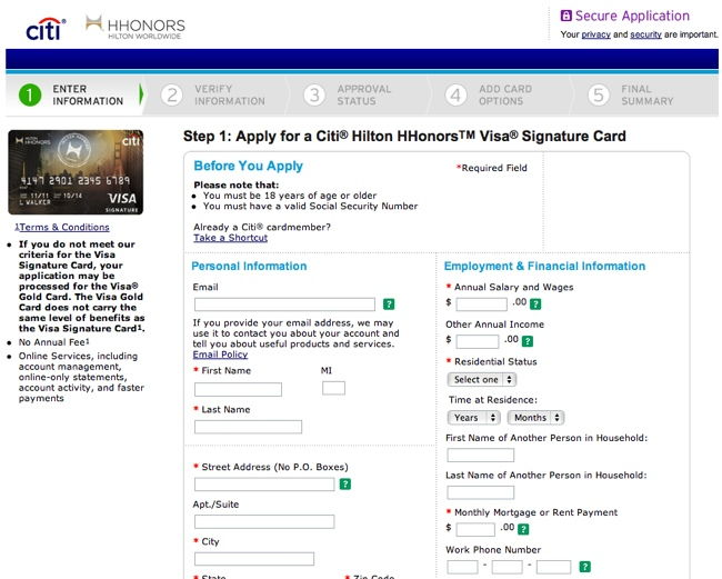citi hilton hhonors application page 2
