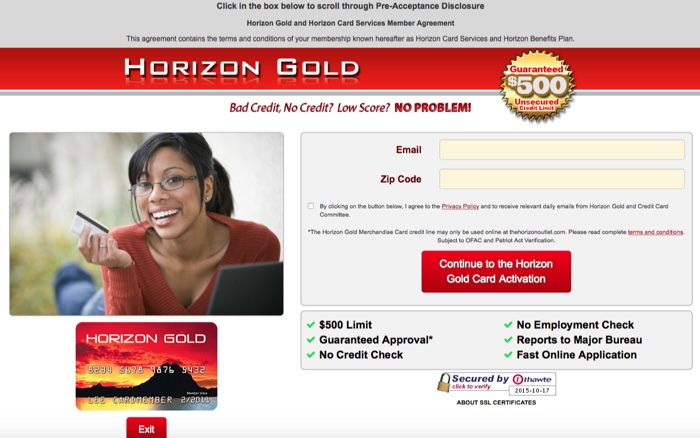 horizon gold application page