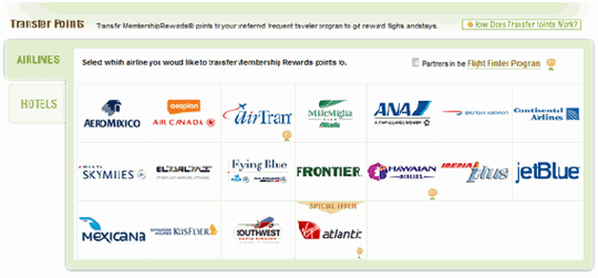membership rewards airline partners