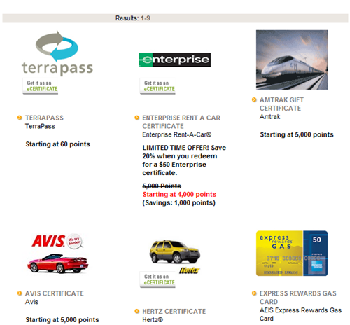 membership rewards car rental