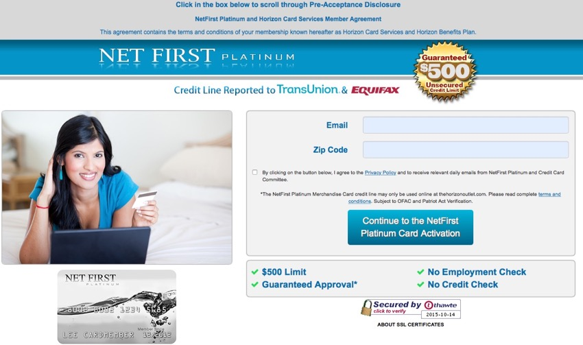 picture of net first platinum application page