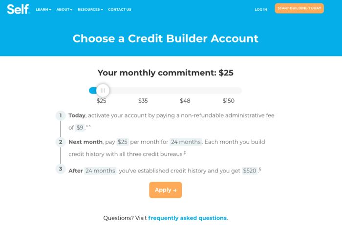 self credit builder pricing page 1